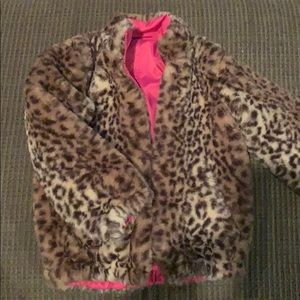 Girls leopard print faux fur jacket reversible